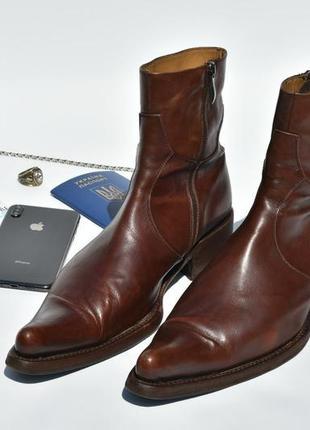 Gianmarco lorenzi мужские казаки туфли сапоги кожаные коричневые размер 42