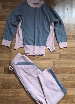 Модный кашемировый костюм прогулочный свитшот и брюки