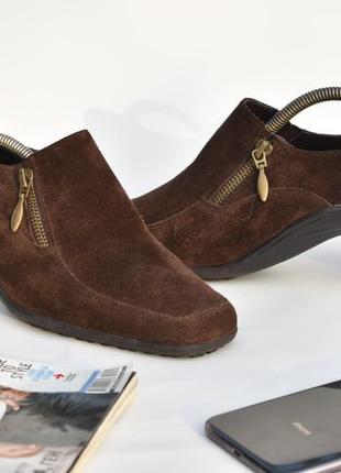 Женские замшевые мягкие туфли коричневые классические кожаные размер 39