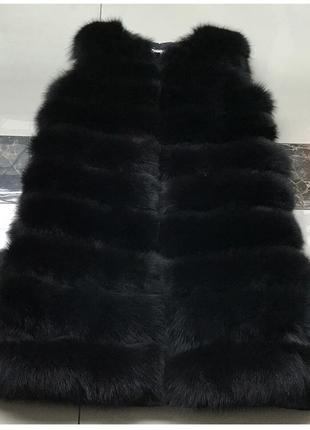 Трансформер женский меховый жилет длинный 90см жилетка 9 цветов чернобурка эко мех