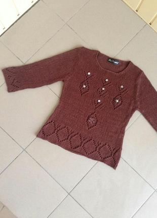 Оригинальная кофта реглан свитер вязаний в сетку step forward