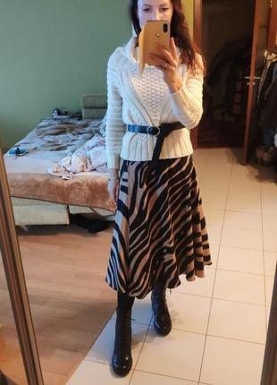 Тренд юбка миди на запах кэмел лето, зима, весна звериный животный принт тигр зебра