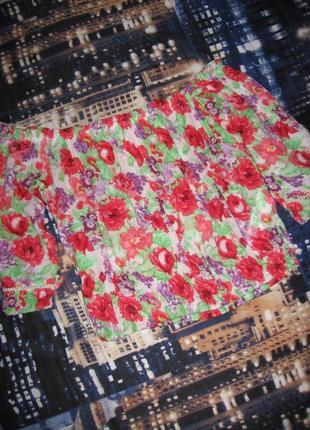 Блузочка по плечам в цветной принт bershka