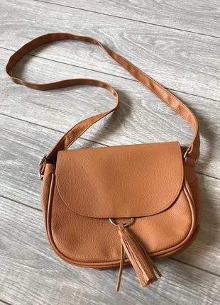 Коричневая сумка из кож зам