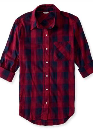 Удлиненная красная базовая рубашка в клетку красная сорочка у клітинку