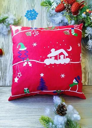 Подушка новорічна червона хатинка
