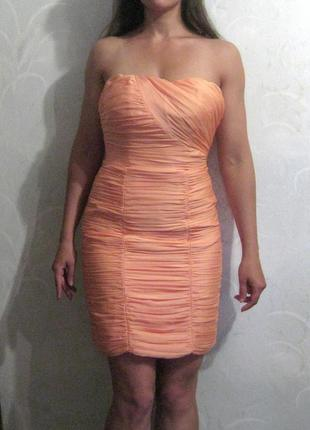 Платье короткое h&m облегающее персиковое розовое оранжевое