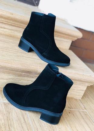 Чёрные ботинки/ мех/ замша/ в наличии