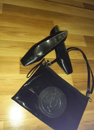 Черные кожаные туфли на среднем каблуке австрия hogl