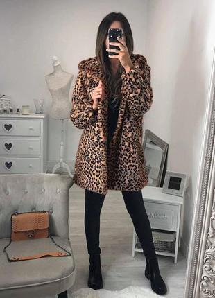 Леопардовая шуба ☃️new look⛄ искусственная шуба леопардовый принт