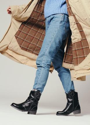 Тендовые кожаные ботинки казаки с широким голенищем зимние, ботинки кожа зима