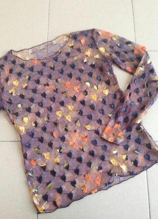 Стильная кофта в сетку,  фатиновая блуза