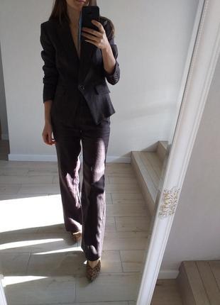 Натуральный брючный костюм шоколадный коричневый широкие брюки