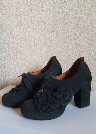 Туфли зеленые женские chie mihara замшевые с цветами ботильоны туфли 39 на каблуке