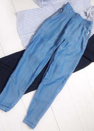 Удобные легкие джоггеры с высокой посадкой зауженные брюки со складками карго