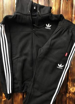 Мужской спортивный костюм - в стиле adidas (чёрный,теплый)