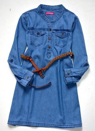 Young dimensions. джинсовое платье- рубашка . 7-8 лет. рост 128 см