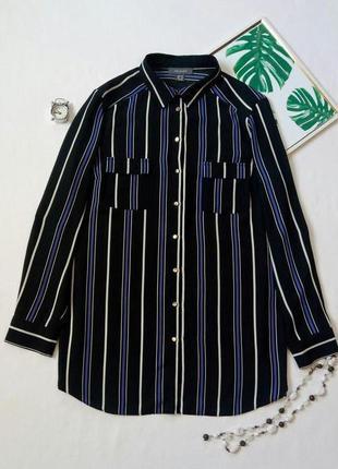 Шифоновая рубашка с принтом в полоску,  удлиненная рубашка