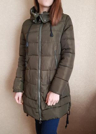 Зимний пуховик, куртка хаки с капюшоном, утеплитель силикон 150