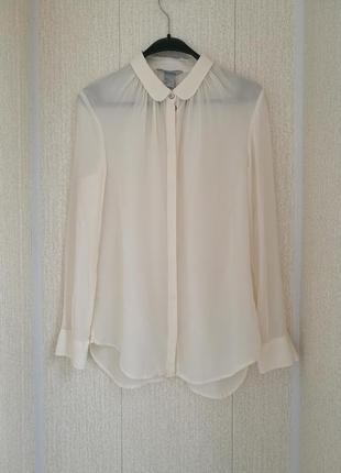 Базовая шелковая блуза,рубашка молочного цвета