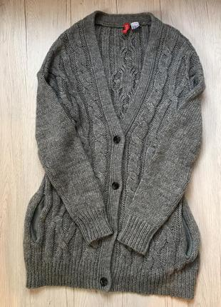 Кардиган свитер теплый вязаный кофта зимняя