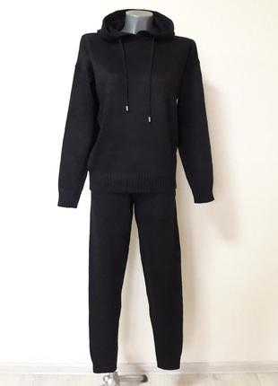 Стильный женский,очень теплый,вязаный шерстяной комплект:свитер-толстовка и брюки