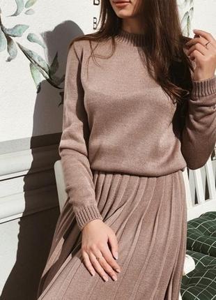 Уютный вязаный костюм (свитер + юбка плиссе миди)