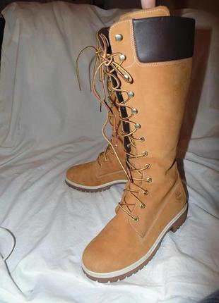 Ботинки ботфорты сапоги высокие timbarland оригинал кожа нубук по сути новые