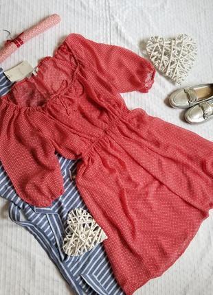 🌼шикарное красное платье в горох