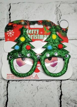 Очки карнавальные, аксессуар на новый год, ёлочка