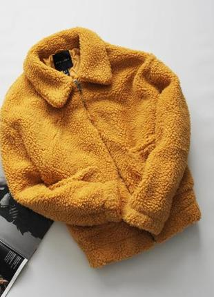 Классная шубка куртка тедди обьемная желтая горчица л 12