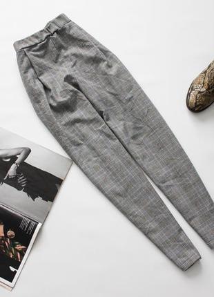 Классные брюки штаны в клетку серые зауженные хл 14