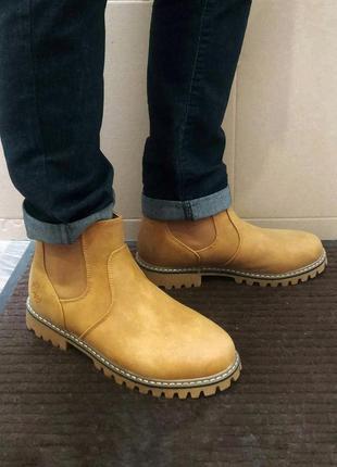 Мужские челси ботинки туфли рыжие высокие теплые зимние