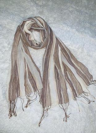 Легкий шарф в полоску шикарного качества! новый без этикетки!
