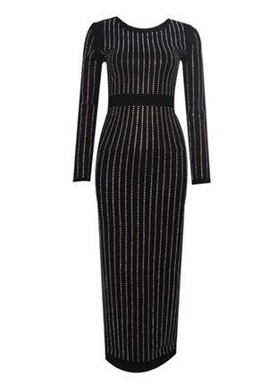Шикарное блестящее чёрное вечернее платье в камнях, платье в стразах на новый год