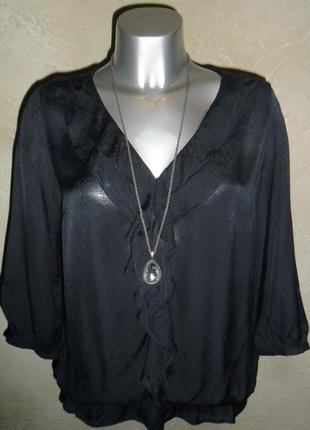 Черная вискозная легкая блуза s-m