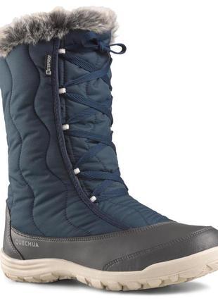 Женские теплые сапоги для зимних походов с синими шнурками quechua