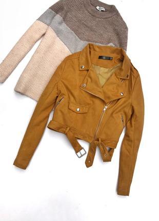 Стильная косуха/куртка под замш горчичного/жёлтого цвета
