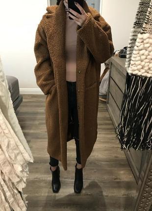 💣💥хит сезона! трендовая плюшевая оверсайз шубка пальто тедди от h&m6 фото