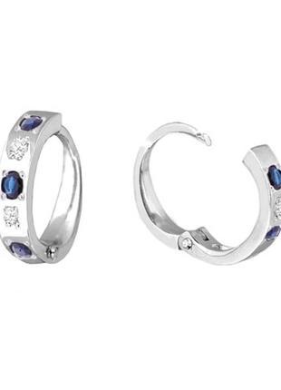 Золотые серьги кольца с сапфирами и бриллиантами. белое золото. новые (код: 14044)