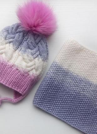 Зимний комплект. шапка и хомут.