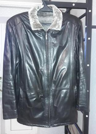 Мужская натуральная кожаная куртка с подкладкой из овчины 58 р.