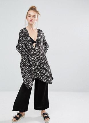 Туника накидка кимоно шифоновая блуза парео оверсайз oversize monki asos xs s m l xl xxl