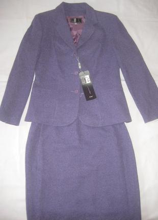 Лавандовый костюм 42р (18% чистая шерсть)
