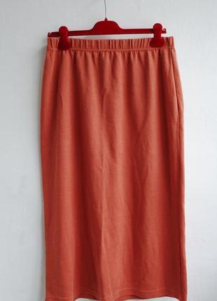 Трикотажная теплая юбка карандаш