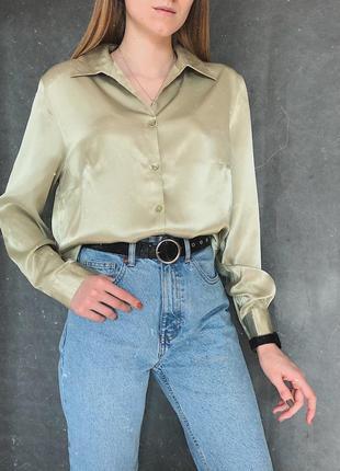 🔥шикарная атласная рубашка фисташкового цвета! винтаж'