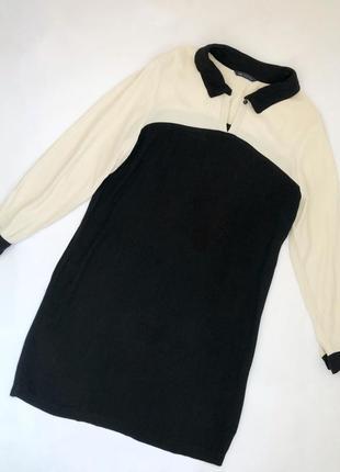 Элегантное черно-белое платье mark&spencer длинный рукав вискоза размер 16, 54