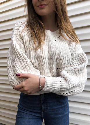 Фактурный свитер свитерок крупная вязка оверсайз новый
