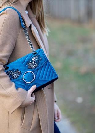 Новая бархатная синяя сумка с бисером и цепочкой orsay