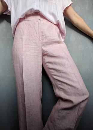 Льняные брюки прямые со стрелками